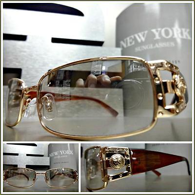 Men's VINTAGE RETRO Style Clear Lens Mirror Tint SUN GLASSES Gold & Brown (Sun Style Mirror)