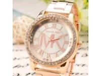 rose gold ladies diamante watch