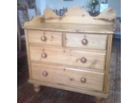 Beautiful Victorian chest of drawers, Wash stand, Tray top.