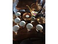 Vintage 6 gold coloured cups saucers sugar bowl jug and teapot