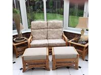 Conservatory 2 seater, 2 footstools and 2 side tables