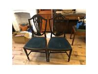 Antique solid oak chair pair