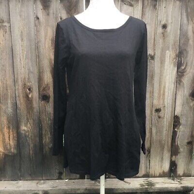 Fabletics Womens Pullover Top Shirt Black Long Sleeve Scoop Neck Low Back L New