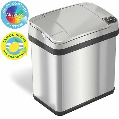2.5 Gal. Sensor Trash Can w/AbsorbX Odor Filter & Air Freshener, Stainless Steel Trash Can Odor