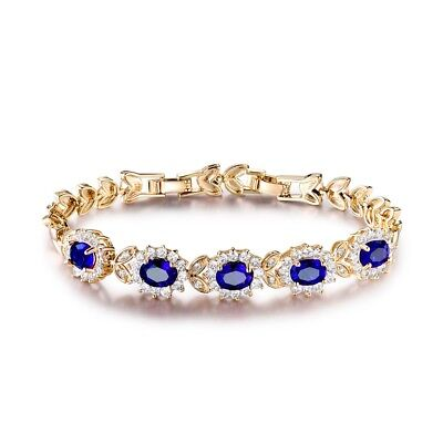 Jewelry For Women Blue Topaz Crystal Charm Bangle Chain Bracelets Gold Filled