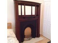 Fireplace Victorian Mahogany Over Mantel Mirror Fire Surround £395ono