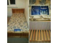 Single bed frame with durable mattress