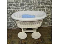 Large Wicker Crib with Solid Wheels, Mattress and Cover