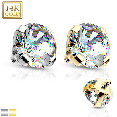 - 14K Solid GOLD Clear Gem DERMAL Anchor TOP Screw Rings Studs Piercing Jewelry