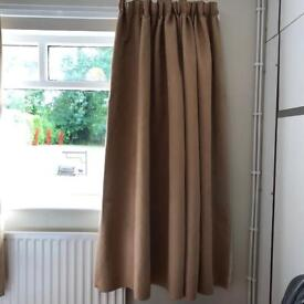 Bedroom faux velvet lined curtains fawn colour