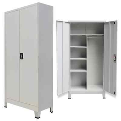 Locker Cabinet With 2 Doors Steel Office School Storage 35.4x15.7x70.9 Gray