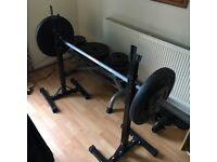 Weights plates with bench and rack