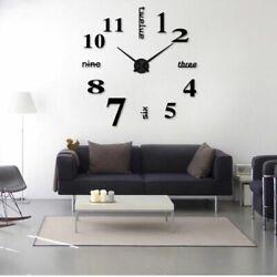 Modern DIY Large Wall Clock 3D Mirror Surface Sticker Big Number Watch Decor USA