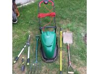 QUALCAST HM30 Electric Hover Mover, Stanley Fork, Spade, Shears