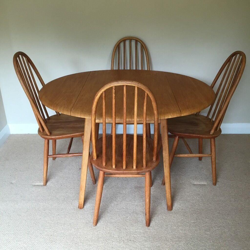 Vintage retro 1960 39 s blonde ercol drop leaf dining table for Retro dining table