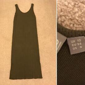 Rib midi dress size 10 low back