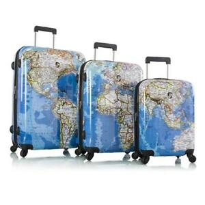 "Heys Explore Map Hard Side Spinner Luggage 3pc. Set - 21"", 26"" & 30"""
