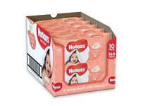 Box of 10 pks of Huggies Soft Skin Baby Wipes. With added Vitamin E & soothing Shea Butter