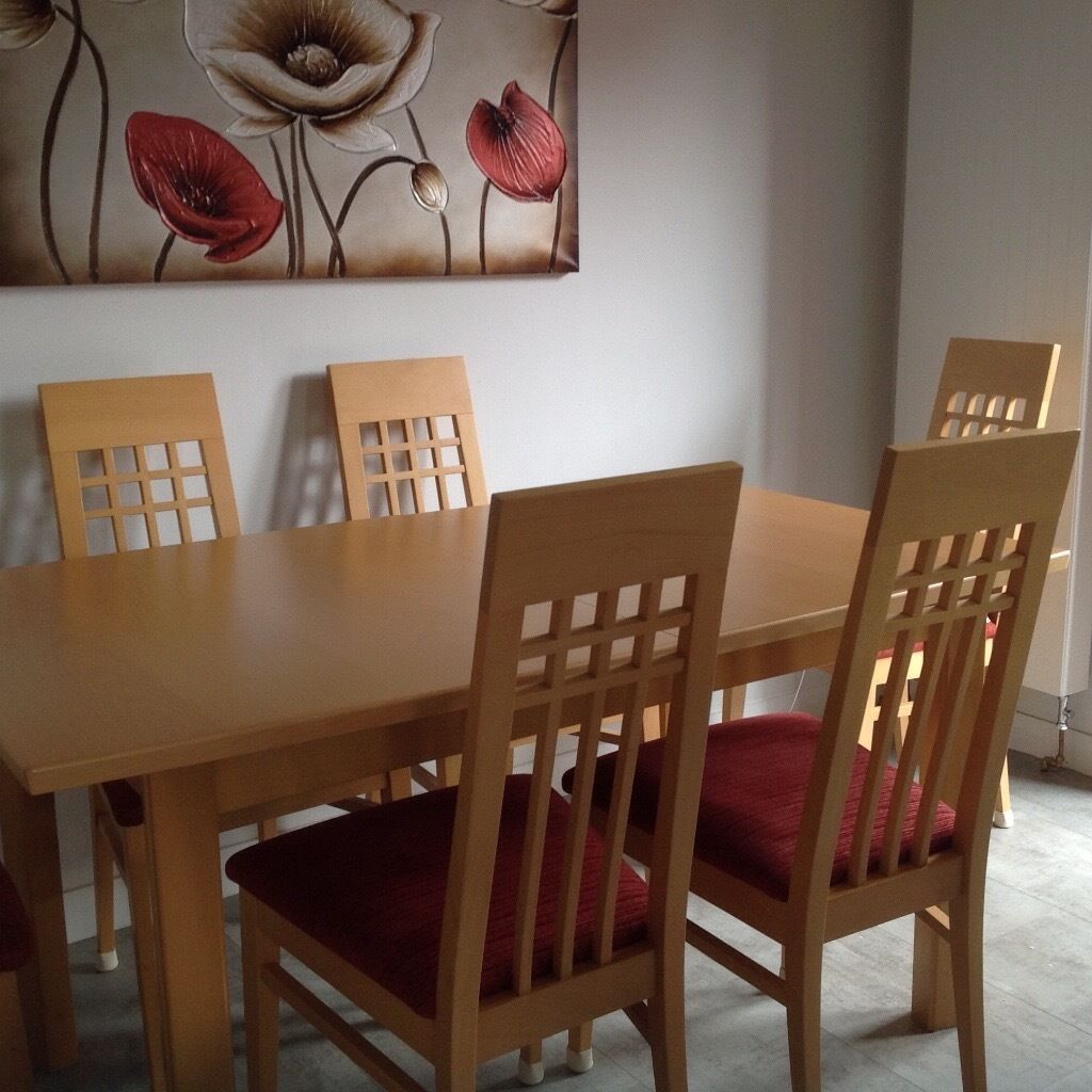 Fine John Coyle Con Solid Beech Extending Dining Table 6 Chairs Bralicious Painted Fabric Chair Ideas Braliciousco