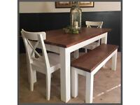 STUNNING NEW HANDMADE PINE PLANK FARMHOUSE TABLE BENCHES AND CHAIRS
