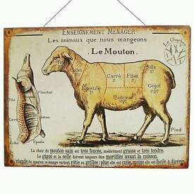 Kitchen French tin wall sign