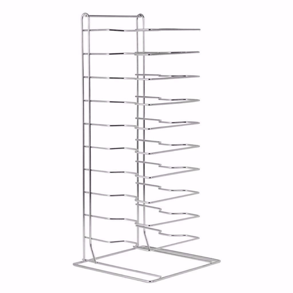 Pizza Pans Stacking Rack 11 Slotin Manor Park, LondonGumtree - Pizza Pans Stacking Rack 11 Slot Ideal for storing all your pizza equipment together. Product features Dimensions 705(H) x 300(W) x 300 (D)mm Keep all your pizza equipment in one place. More information 0203 581 9200 0740 587 3018 KGS0168