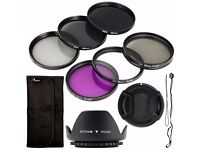 6pcs UV CPL ND Filter + Lens Hood Cap 58mm for Canon EOS Rebel XSi T...