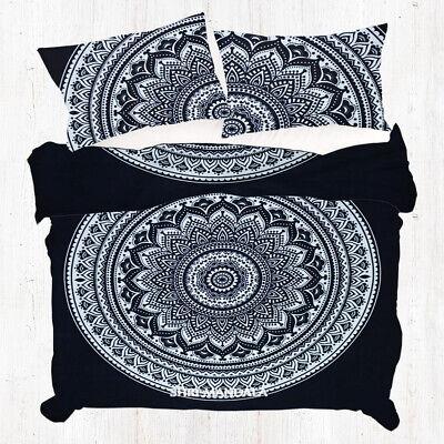 Black and White KING Size Indian Mandala Duvet Cover Set Boho Quilt Cover