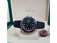 New Rubber Everose Rilex Yachtmaster Comes Rolex Bagged and Boxed with Paperwork