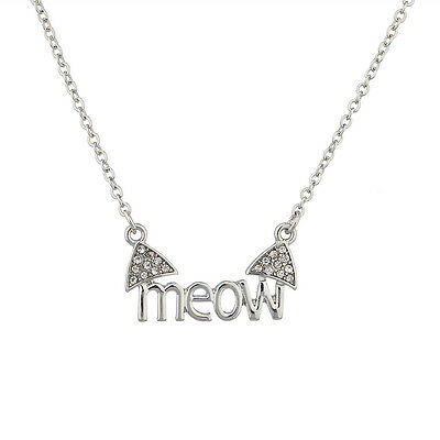 - Lux Cat Ears Meow Kitty Pave Animal Lover Crystal Pendant Necklace.