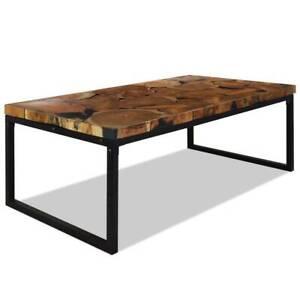 Coffee Table Teak Resin 110x60x40 cm Black and Brown HAH3S-244551