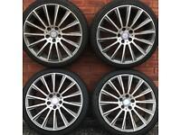Mercedes Benz 19 inch amg twist style gunmetal polished alloy wheels & tyres C E Class alloys rims