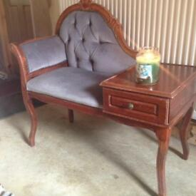 Telephone Seat - Dark Wood & Grey Fabric **Up-cycling Opportunity**