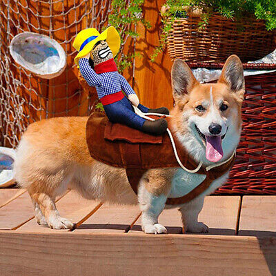 US Funny Riding Horse Cowboy Pet Dog Costumes Puppy Halloween Costume