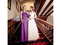 Plum halter neck bridesmaid dress size 6-8