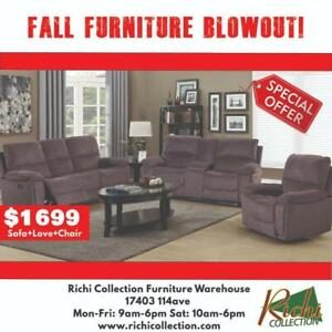 BRAND NEW 3PCS Recliner Performance Fabric Sofa Set for Only $1699 @ Richi Collections FALL FURNITURE BLOWOUT