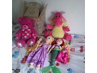 4 x Disney Princess Soft Dolls, Dragon & Pink Build a Bear with Original Box