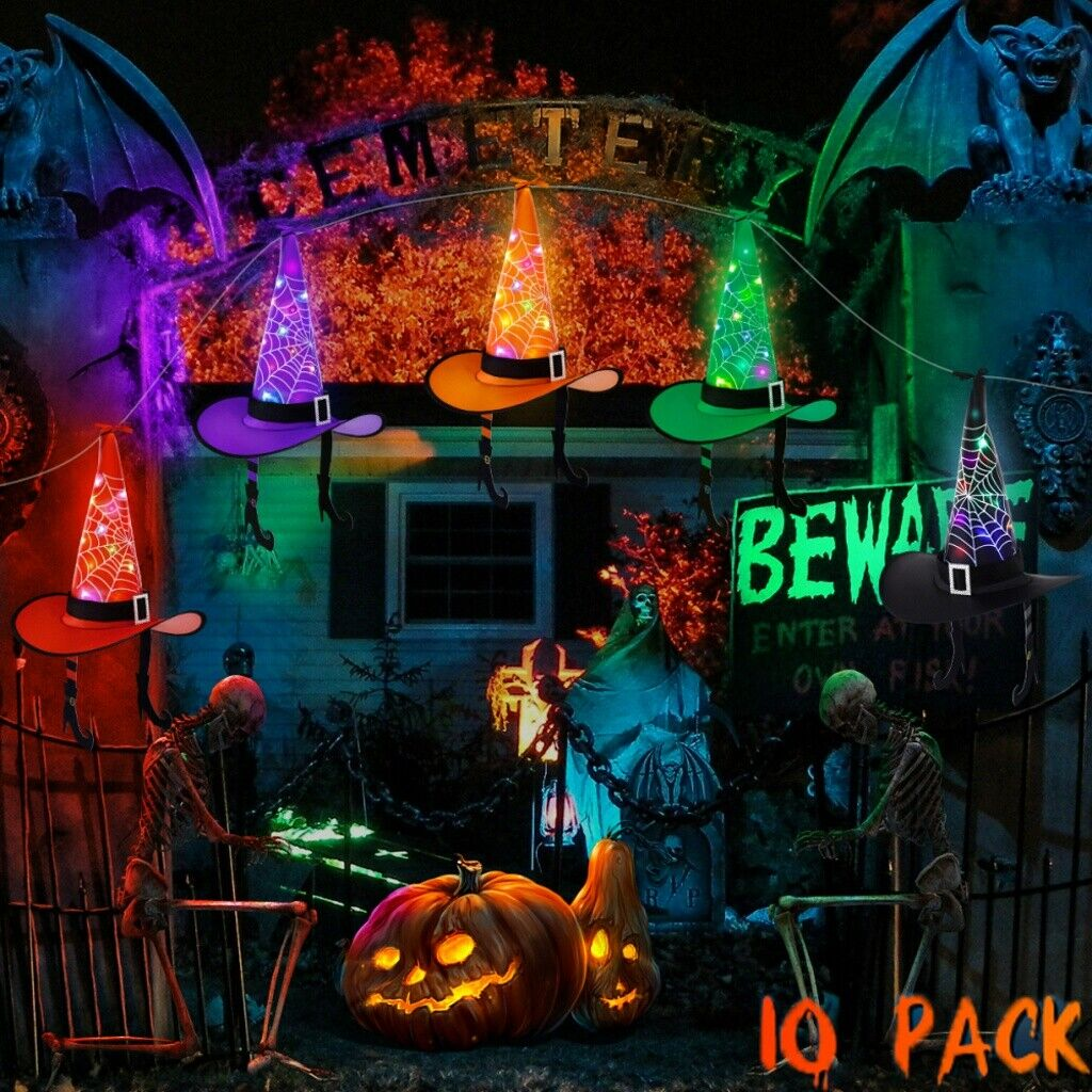 43ft 10pcs Halloween Decorations Witch Hats Caps String Lights Outdoor Lights Ebay