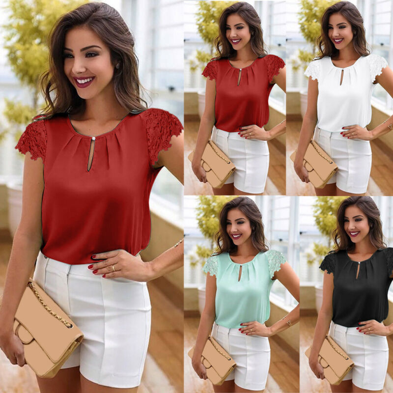 Summer Womens Casual White Tops Blouse Short Sleeve Lace Chi