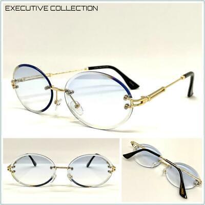 Classy Elegant Sophisticated LUXURY SUNGLASSES Rimless Gold Frame Oval Blue (Elegant Sunglasses)