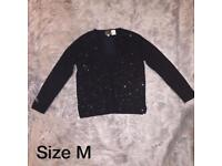 Size 12/14 black beaded cardigan