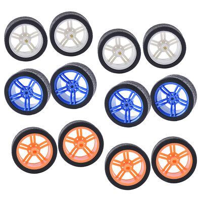 12 Pcs  Smart Car Robot Plastic Tire Wheel - 3 Colors Rubber Wheels