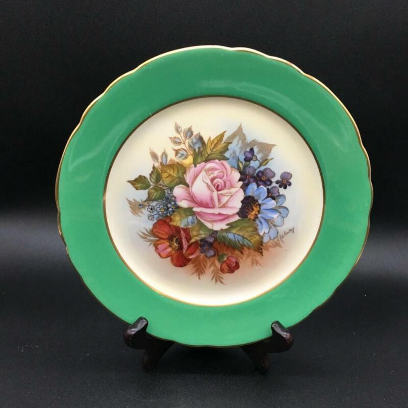 """AYNSLEY CABBAGE ROSE HP 8"""" SALAD PLATE GREEN BORDER SIGNED BAILEY CH6118"""