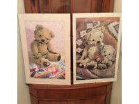 2 Framed Teddy Bear Prints