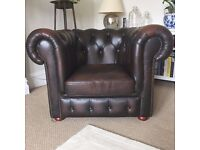 Chesterfield Club Armchair, Classic Dark Cherry Brown Leather, Great Condition - Redland £375 ono!