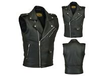 Antique Newer Motorbike Leather Brando Vest