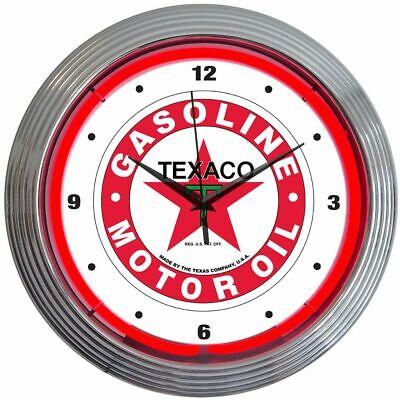 Texaco Gasoline Motor Oil Logo Red Neon Hanging Wall Clock 15 Diameter 8TXOIL