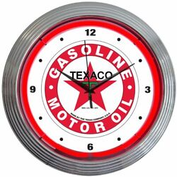 Texaco Gasoline Motor Oil Logo Red Neon Hanging Wall Clock 15 Diameter 8TXOIL