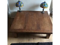 Solid oak coffee table, 100x. 110 and 3 leafs 100 x 40