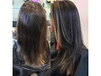 Model for free half head or scattered highlights,cut and blow.